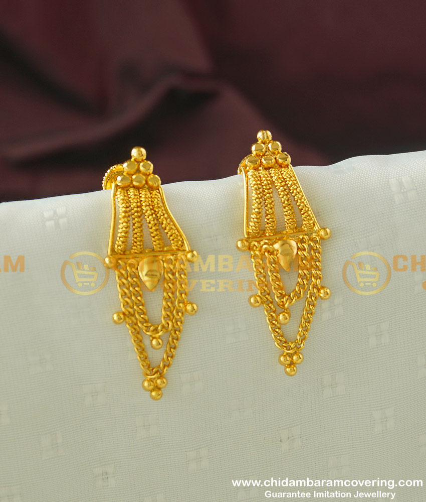 ERG321 - Simple Daily Wear Light Weight Earring Designs One Gram Gold Buy Online