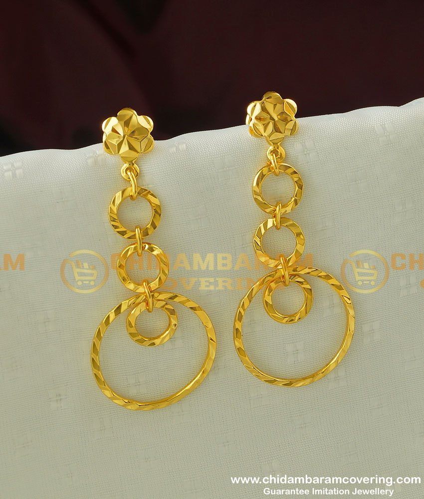 ERG324 - Gold Style Plain Big Round Hanging Earrings Gold Plated Earring Buy Online