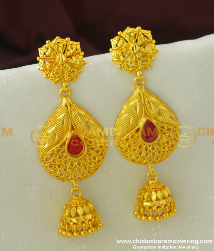 ERG333 - Unique Peacock Feather Design Red Stone Forming Gold Plated Danglers Earring Online