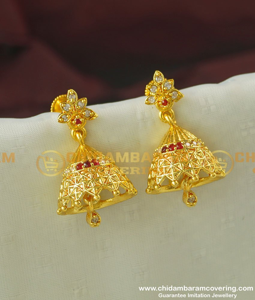 ERG342 - Beautiful First Quality Solid AD Stone Jhumka Earing One Gram Gold Jewellery