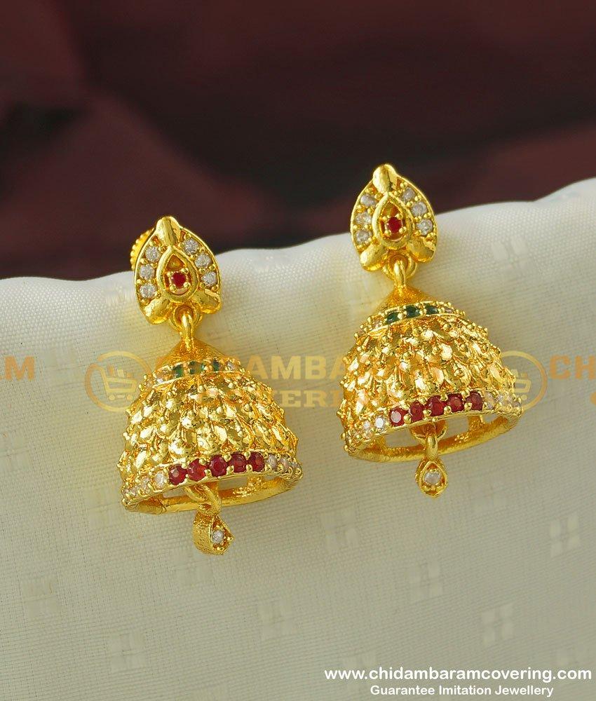 ERG345- Stylish Multi Stone Designer Guarantee Jhumkas Micro Gold Covering Jewellery Buy Online