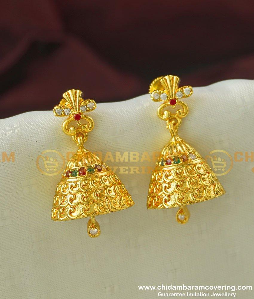 ERG346 - Trendy One Gram Gold Fancy CZ Jimiki Earring Jewellery Buy Online
