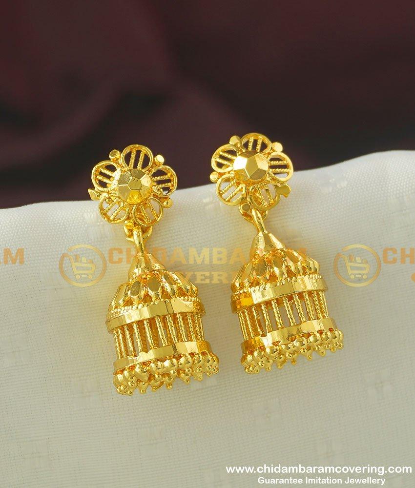 ERG357 - Traditional Gold Design Guarantee Jhumka Earring Design Online