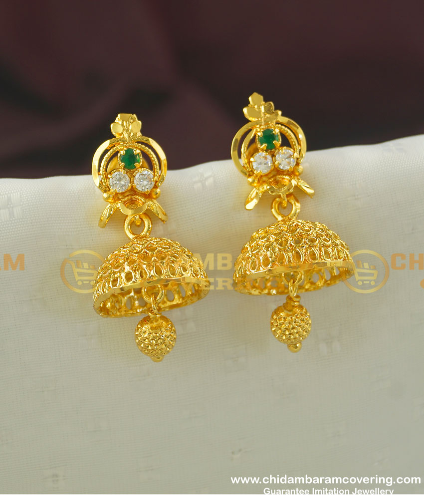 Erg358 - Unique Collection White and Emerald Stone One Gram Gold Function Wear Jhumkas Online