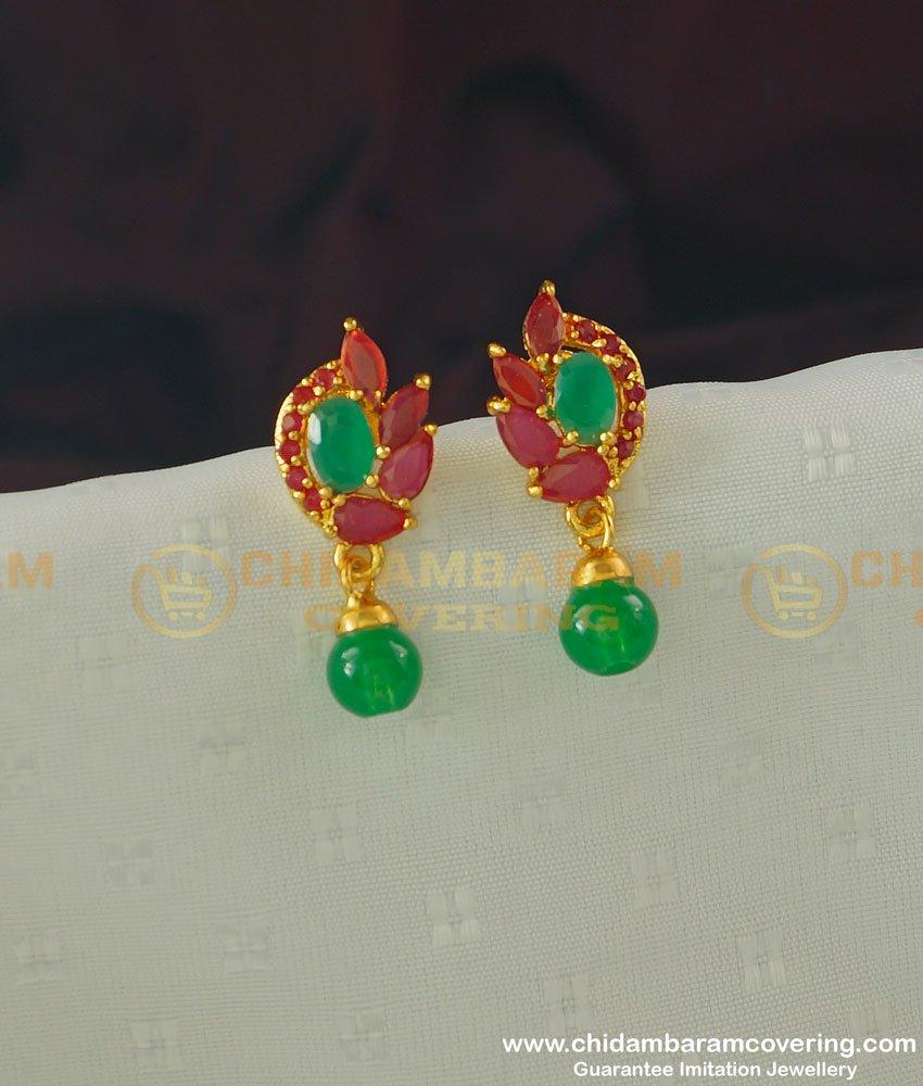 ERG366 - Semi Precious Ruby Emerald Designer Stud Earring for Ladies