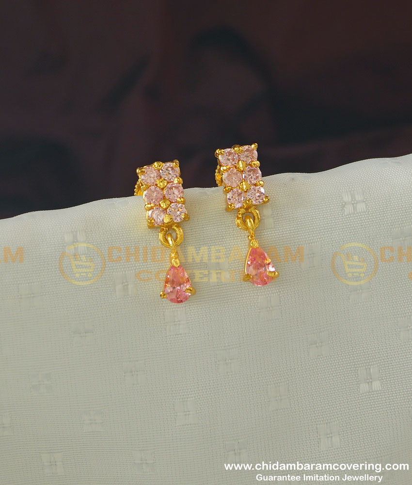 Buy Cute Rose Gold Pink Stone Earrings Gold Design Studs For School Girls