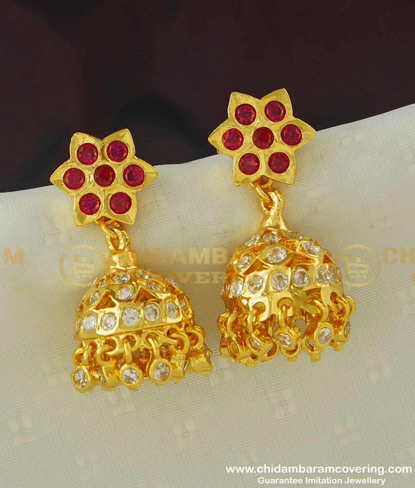 ERG381 - Real Gold Like First Quality Ruby Stone and Ad Stone Impon Heavy Jhumkas Online