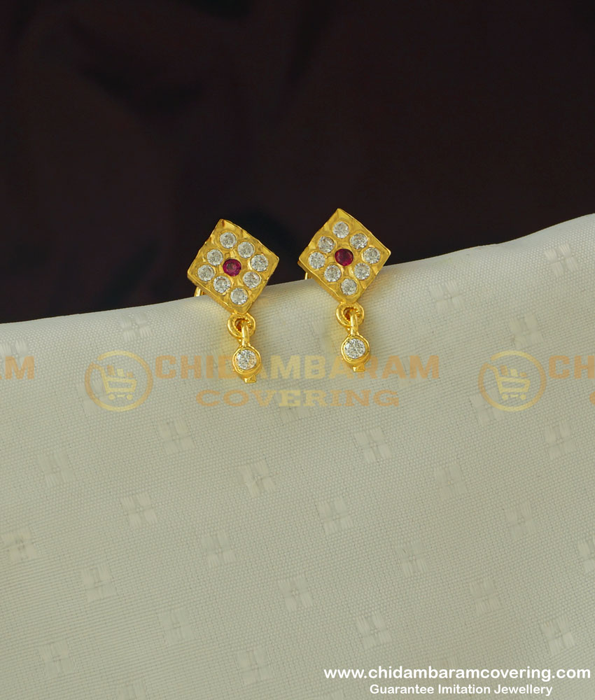 ERG384 - Cute Small Size Impon Stone Studs for School Girls