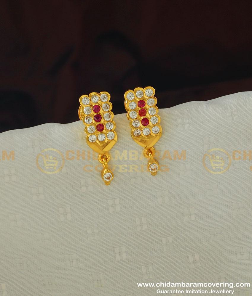 ERG386 - Simple Impon Daily Wear Earring Stud One Gram Gold Earrings Online