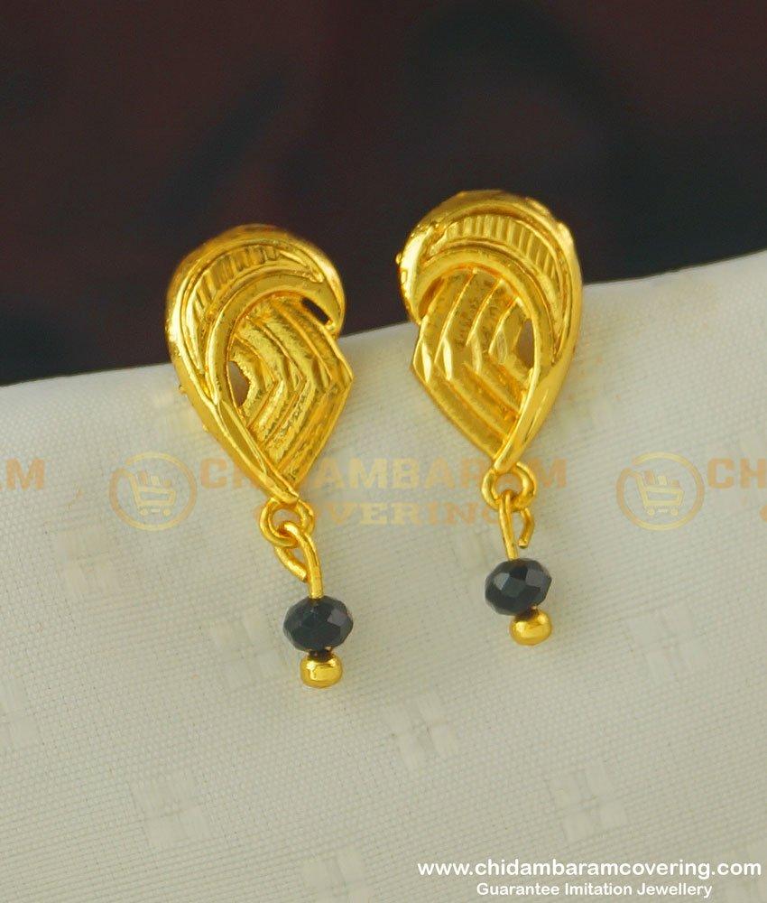 ERG387 - Simple Light Weight Daily Wear Kerala Style Black Crystal Stud Earring Designs Online