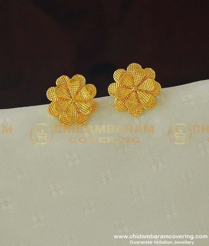 ERG389 - Beautiful Daily Wear Medium Size Flower Design Stud Imitation Earrings Online