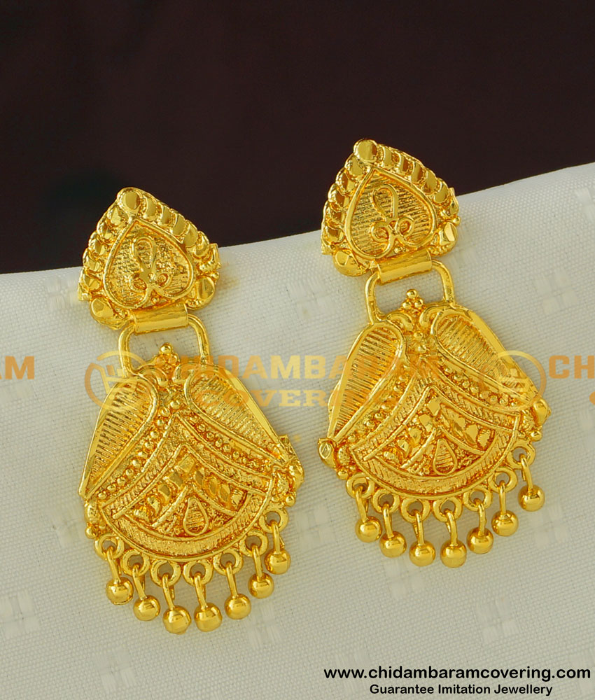 ERG390 - Traditional Kerala Gold Design Dangler Gold Plated Earring Collection Online