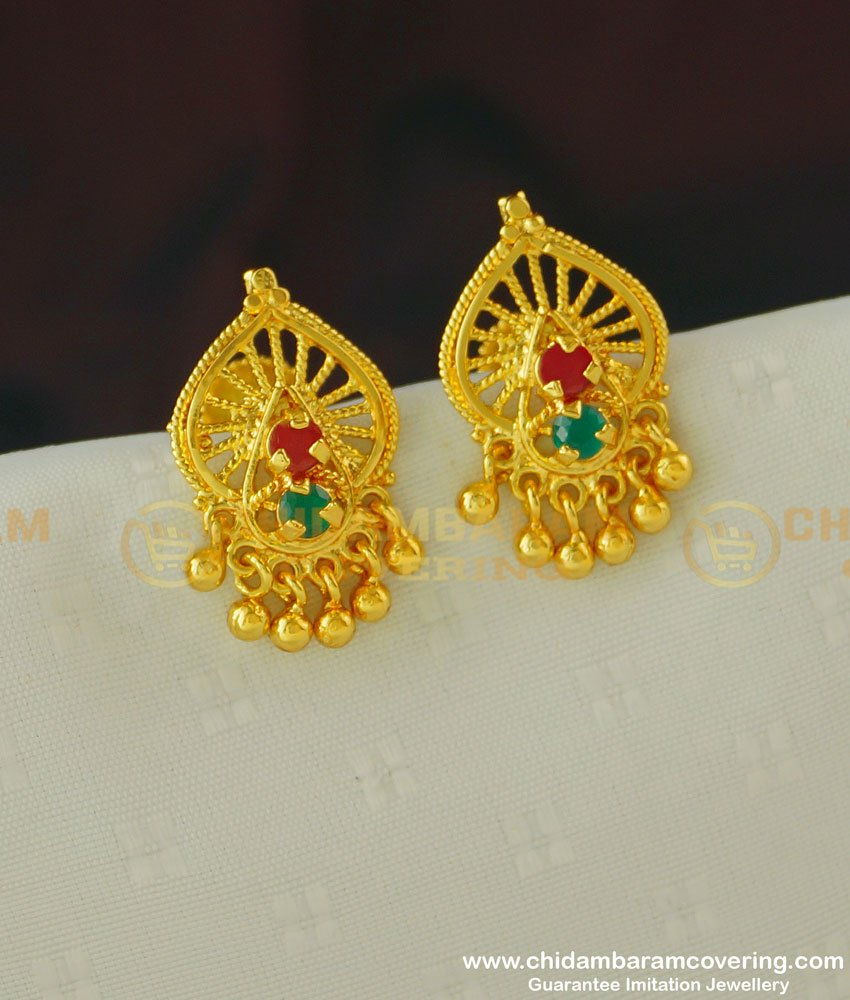 ERG392 - Gold Look Ruby and Emerald Stone Earrings Design Guarantee Jewellery Buy Online
