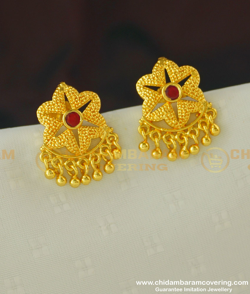 ERG393 - Stylish Floral Design Ruby Stone Gold Covering Earring Stud for Women