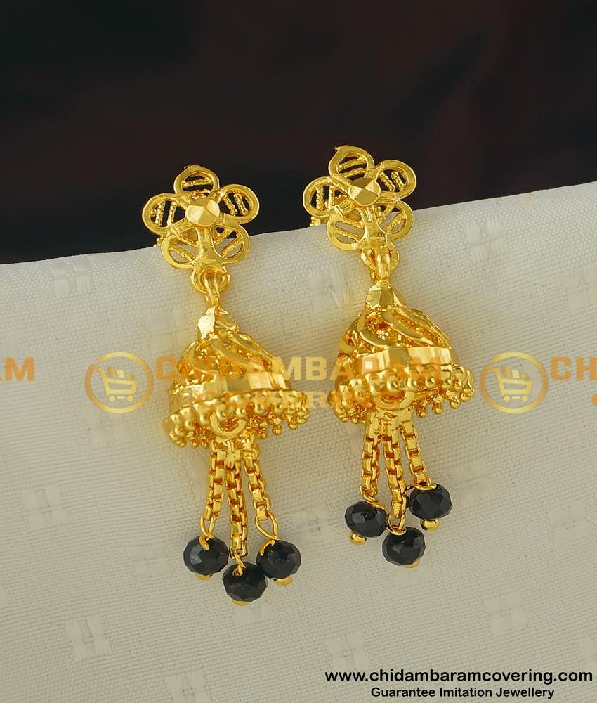 ERG399 - Semi Precious Black Crystal Tassel Gold Design Jhumka Earrings for Women