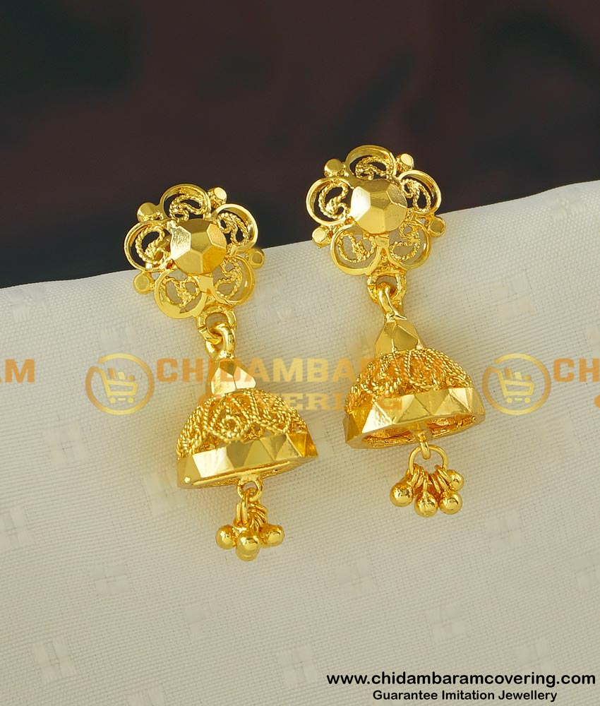 ERG406 - New Daily Wear Gold Plated Plain Gold Design Jhumkas for Women