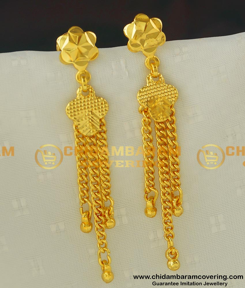 ERG410 - New Style Gold Covering Chain Long Dangle Earrings Designs for Modern Girls