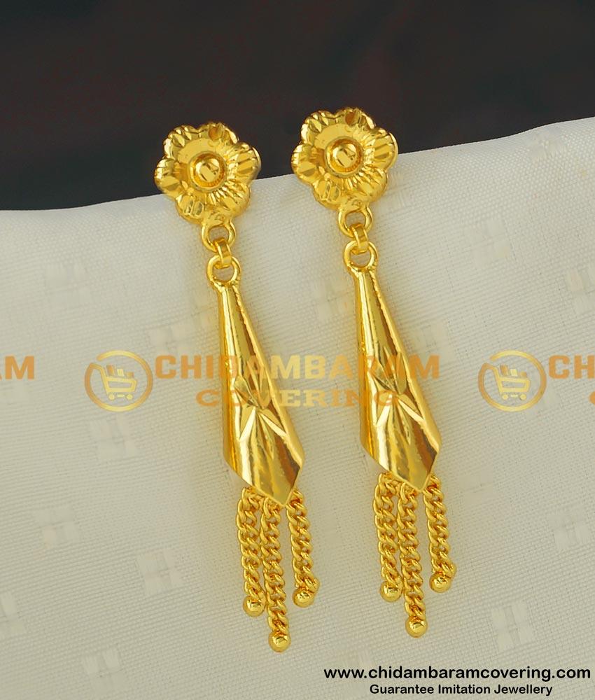 ERG411 - Latest Fashion Gold Plated Cone Shape Long Dangle Earrings Designs for Modern Girls