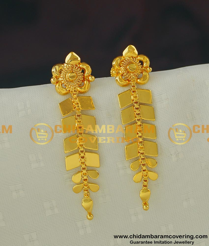 ERG412 - Fashion Gold Earring Design One Gram Gold Leaf Dangle Earrings Design for Girls