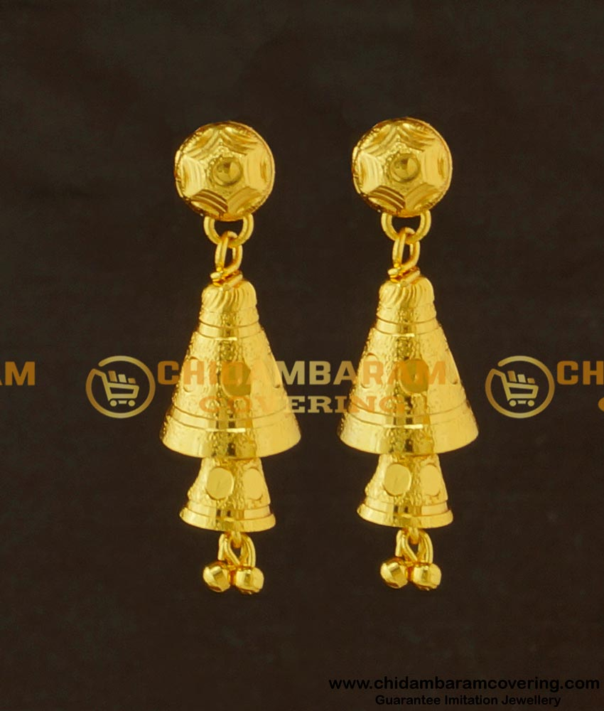 ERG418 - New Fashion Gold Plated Double Layer Cone Shape Long Dangle Earrings Designs for Modern Girls