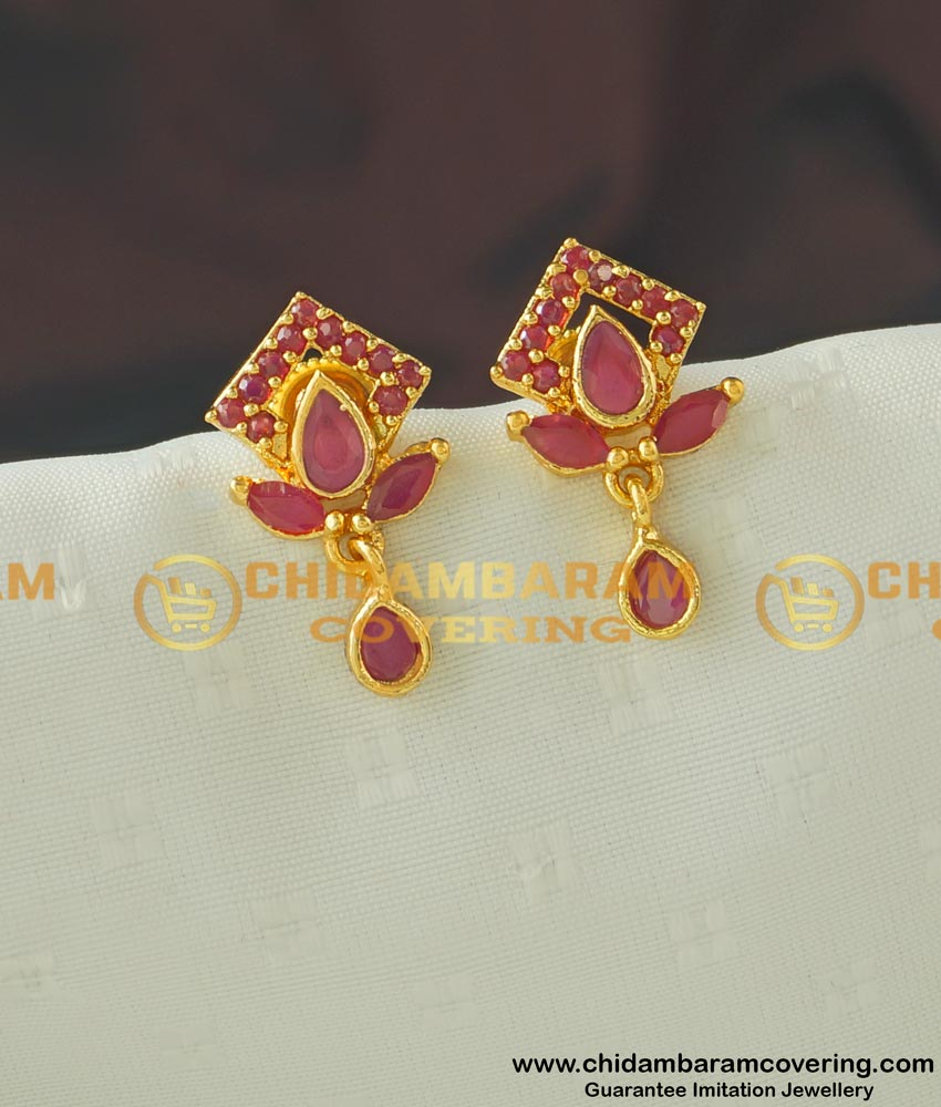 ERG436 - Cute Small High Quality Full Ruby Stone Earring Buy Online