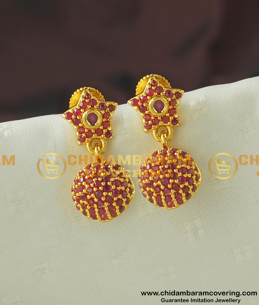 Erg442- Unique Collection Full Ruby Stone One Gram Gold Party Wear Jhumkas Type Online