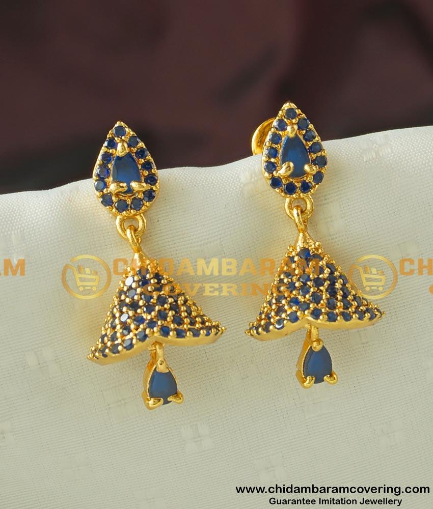 Erg443 - Most Beautiful Navy Blue CZ Stone One Gram Gold Party Wear Stylish Jhumkas Online