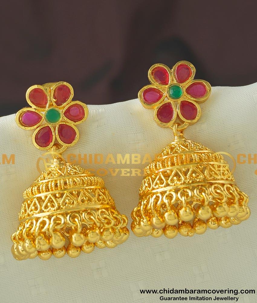 ERG445 - Buy Attractive Flower Design Bridal Heavy Gold Plated Stone Jhumkas Wedding Jhumkas Earring Online Shopping
