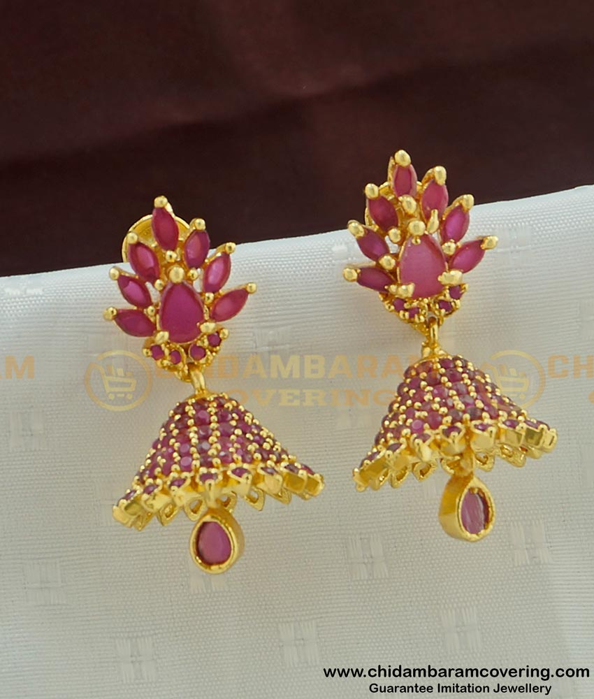 Erg446 - Unique Collection Full Ruby Stone One Gram Gold Party Wear Jhumkas Online