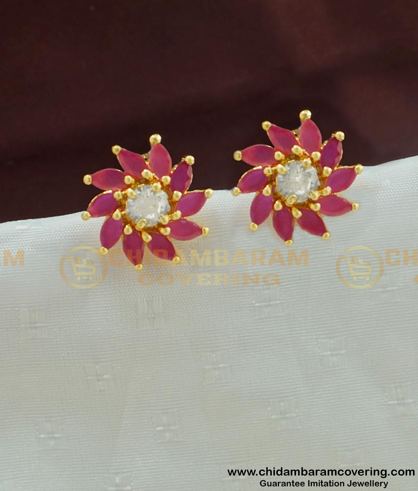 ERG448 - One Gram Gold Party Wear Floral Design Ruby Stone Studs Imitation Jewellery