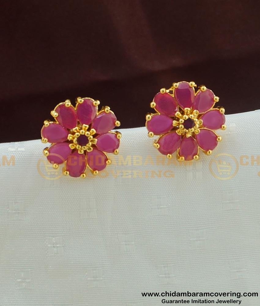 ERG450 - High Quality Beautiful Flower Design Ruby Stone Studs One Gram Gold Jewellery Online