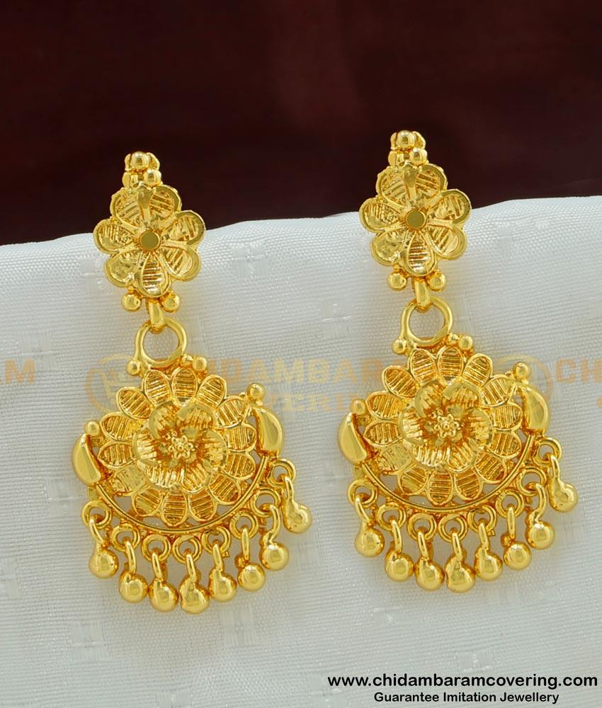 ERG458 - New Gold Look Designer Floral Pattern Long Dangler Earring Buy Indian Jewellery Online