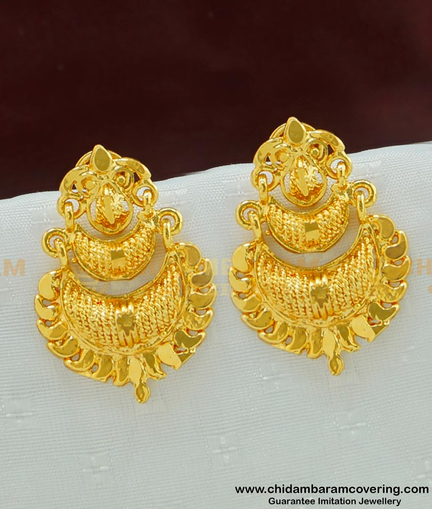 ERG477 - Traditional Gold Design 2 Step Daily Wear Plain Gold Plated Earring Designs