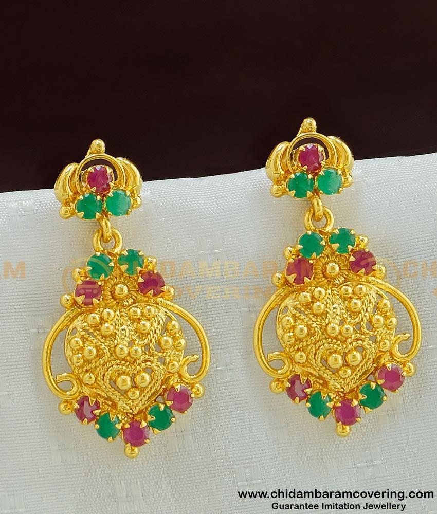 ERG488 - Bridal Wear Ruby Emerald Gold Dangle Earring for Female