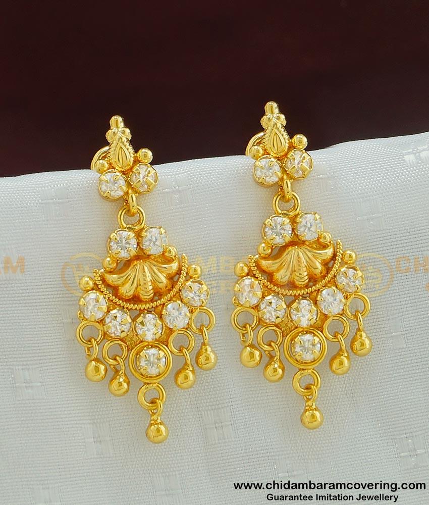 ERG492 - Stunning Gold American Diamond Gold Earring Design for Wedding