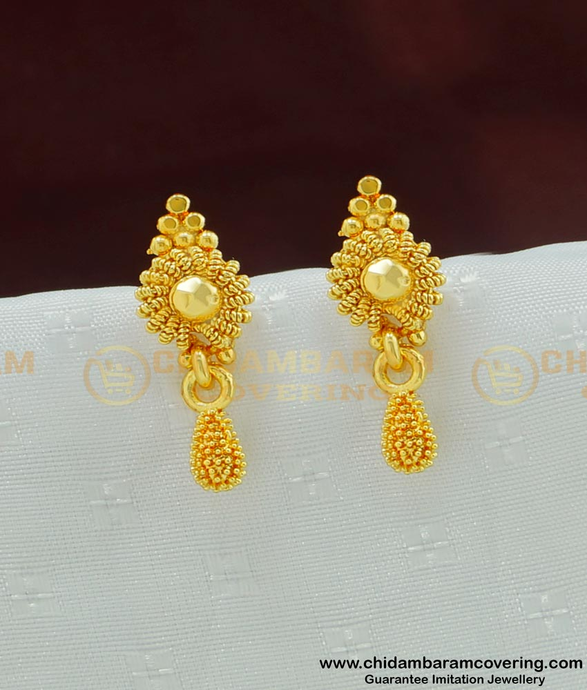 ERG493 - Simple Design Light Weight Gold Plated Small Daily Wear Earring