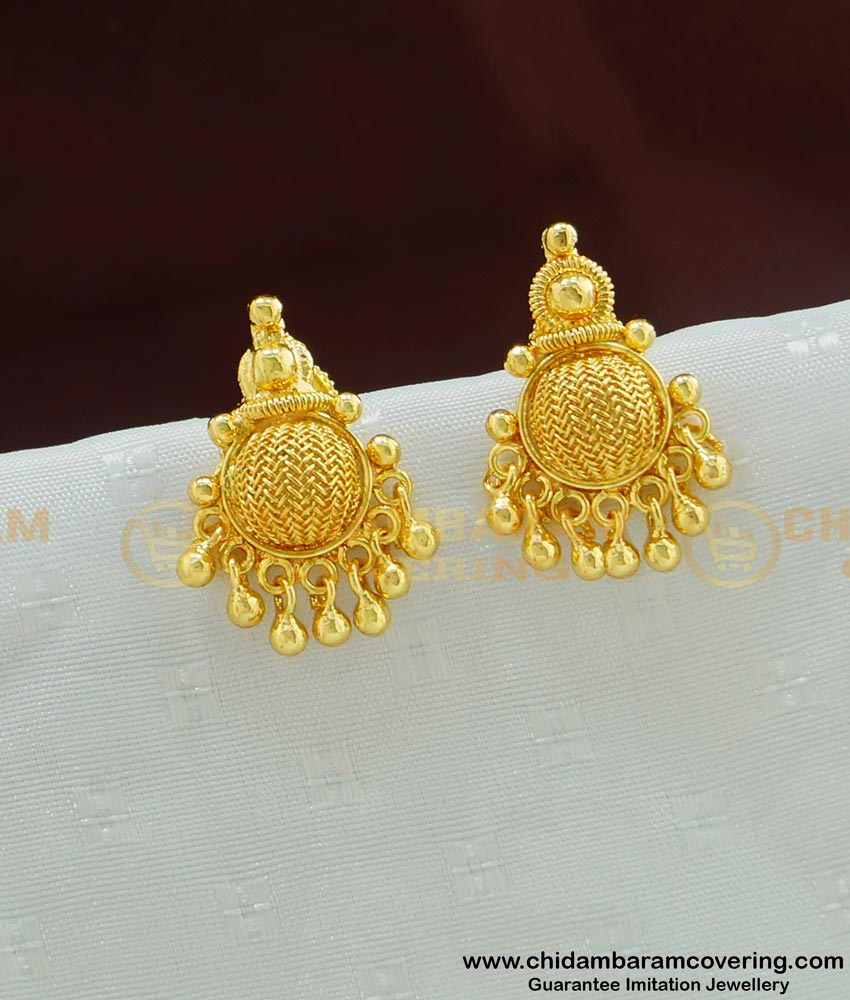 ERG496 - Daily Wear One Gram Gold Stud Earrings for Ladies