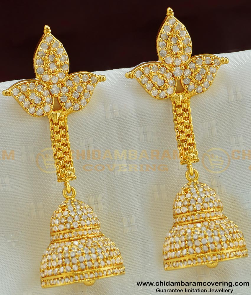 ERG505 - Diamond Look Very Grand Ad Stone Party Wear High Quality Long Jhumka Earring