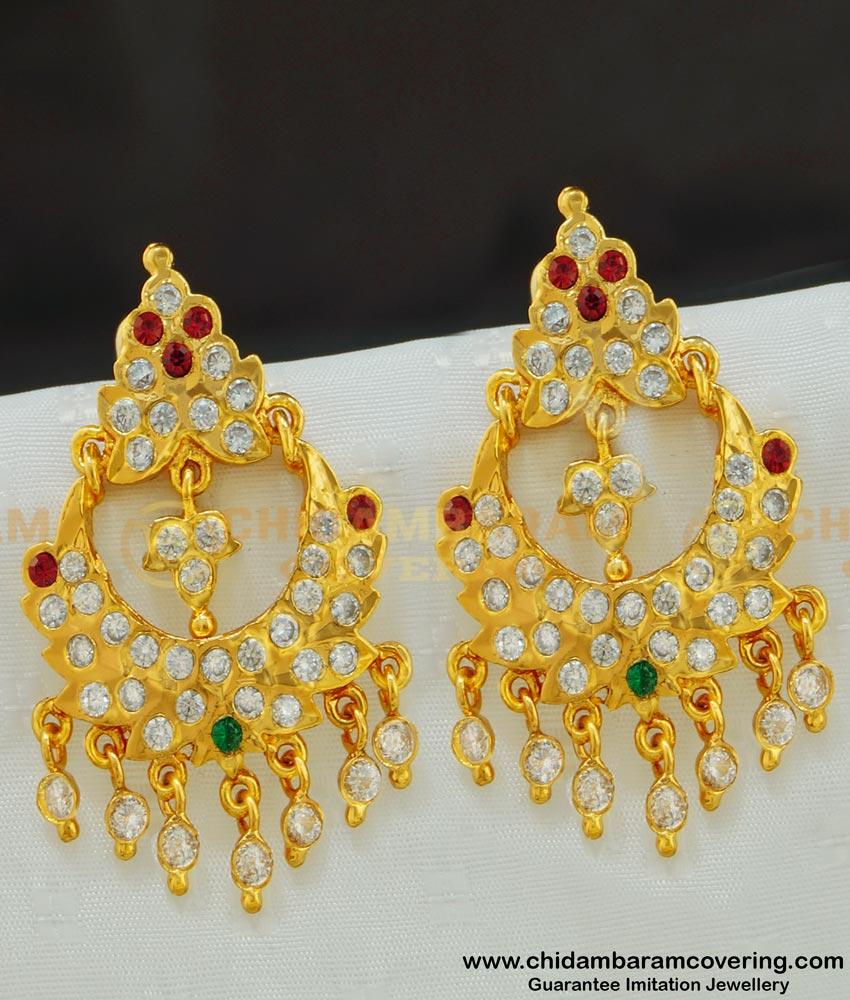 ERG517 - Unique New Design One Gram Gold Impon Chandbali Earrings for Wedding