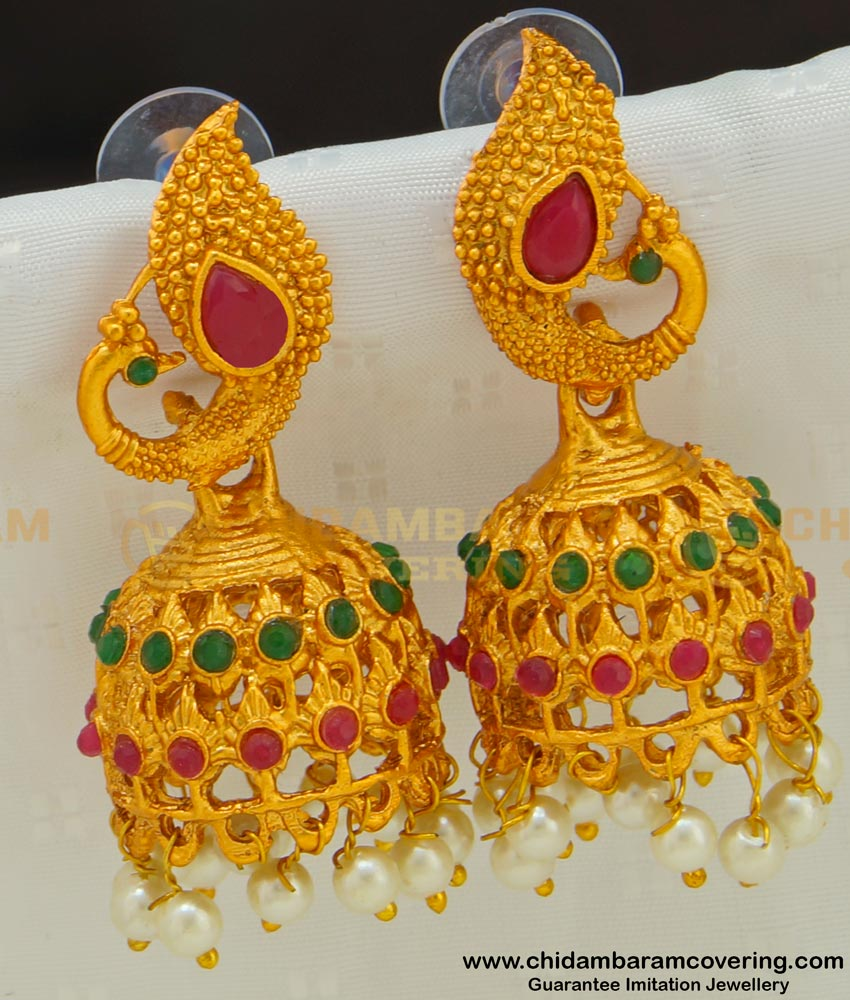 ERG521 - Peacock Design Matte Finish South Indian Temple Jewellery Jhumkas for Wedding