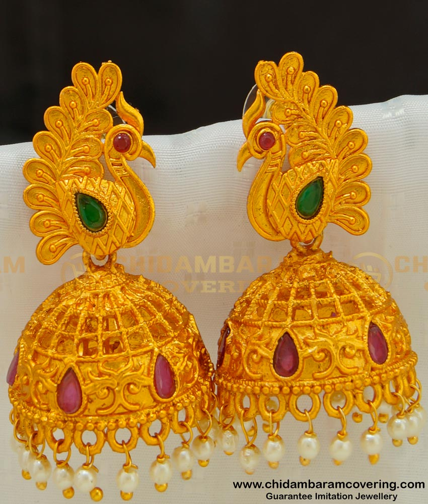 ERG523 - South Indian Temple Jewellery Peacock Design Jhumkas Earring
