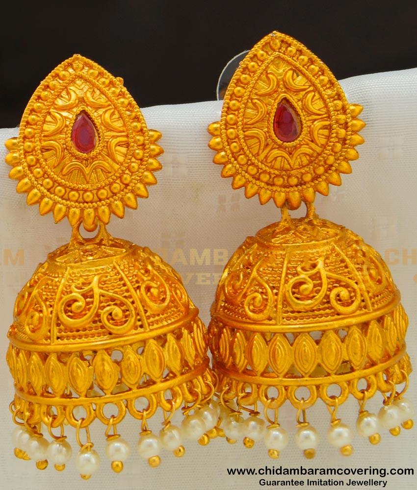 ERG524 - Traditional Temple Design Jhumka Bridal Wear Big Jhumkas for Wedding