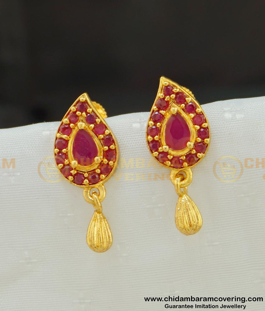 ERG531 - Unique Daily Wear Mango Design Full Ruby Stone Earring Buy Indian Jewellery Online