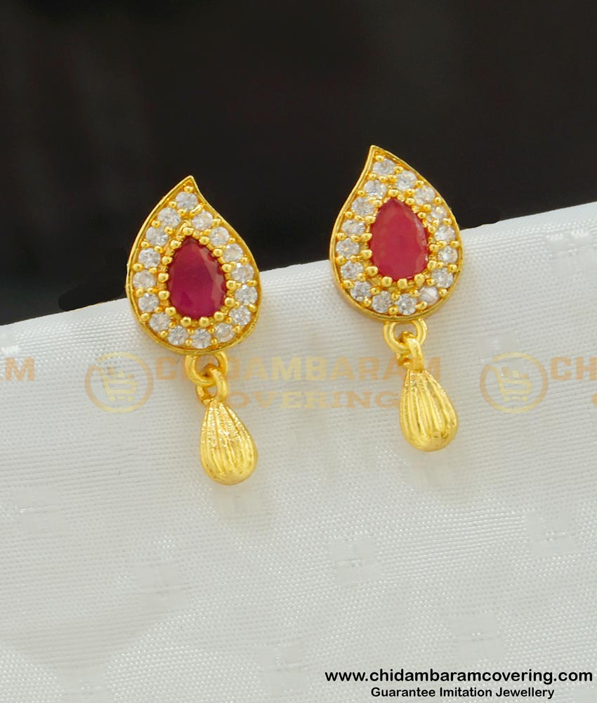 ERG532 - Attractive Real Gold Design Ad Stone Mango Shape Earring Buy Indian Jewellery Online