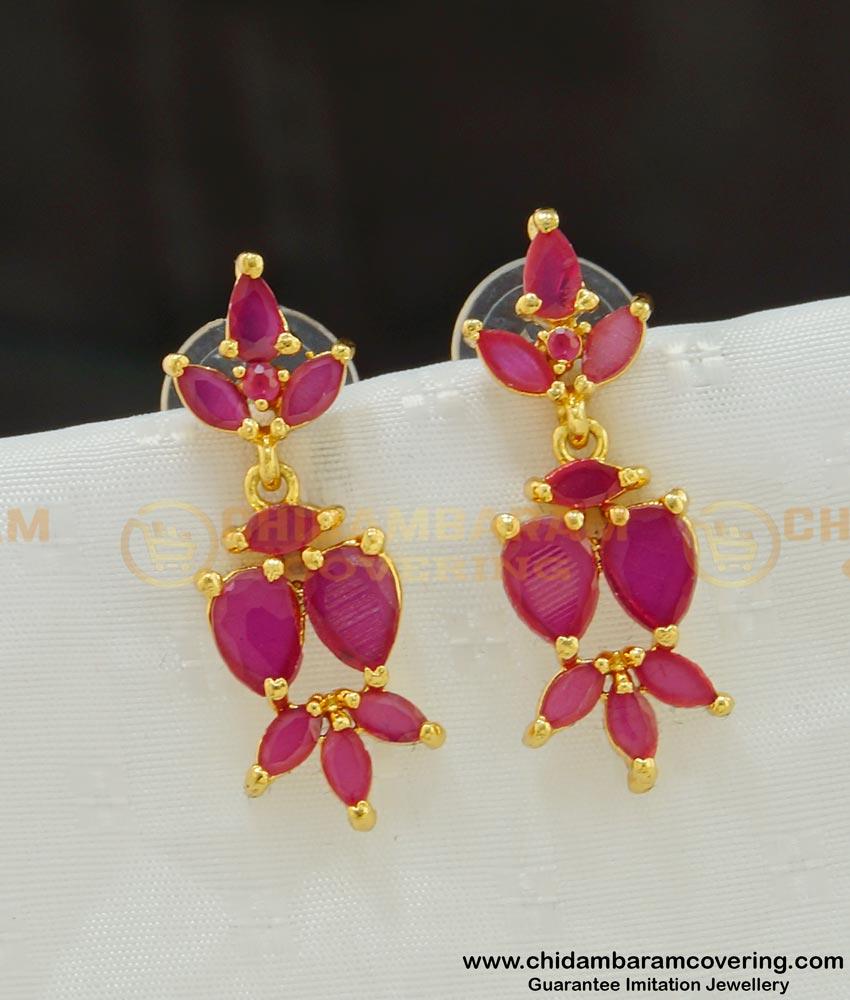 ERG533 - Trendy Full Pink Stone Beautiful Danglers Design Indian Gold Stone Earrings
