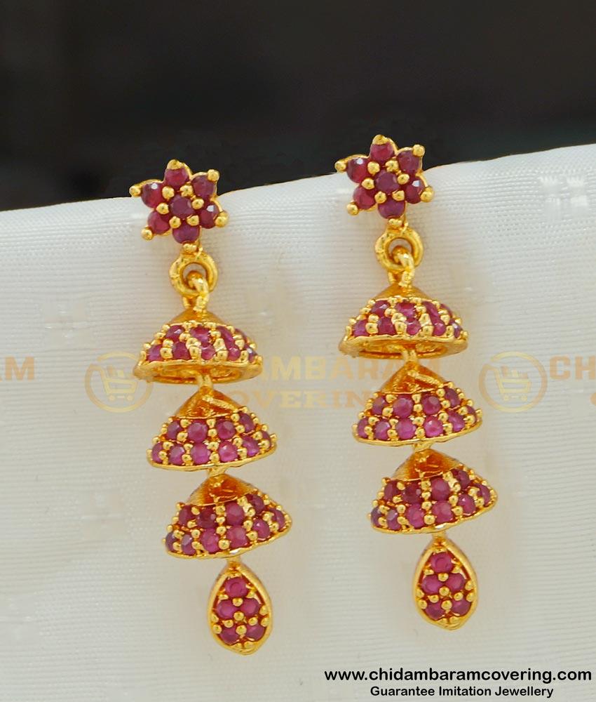 Erg534 - Unique High Quality Bridal Gold Jhumka Design Ruby Stone 3 Step Jhumkas Earrings