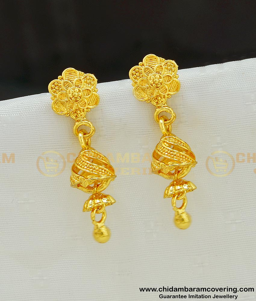 ERG539 - Beautiful Cute Small New Model Jhumkas Gold Plated Earring Online