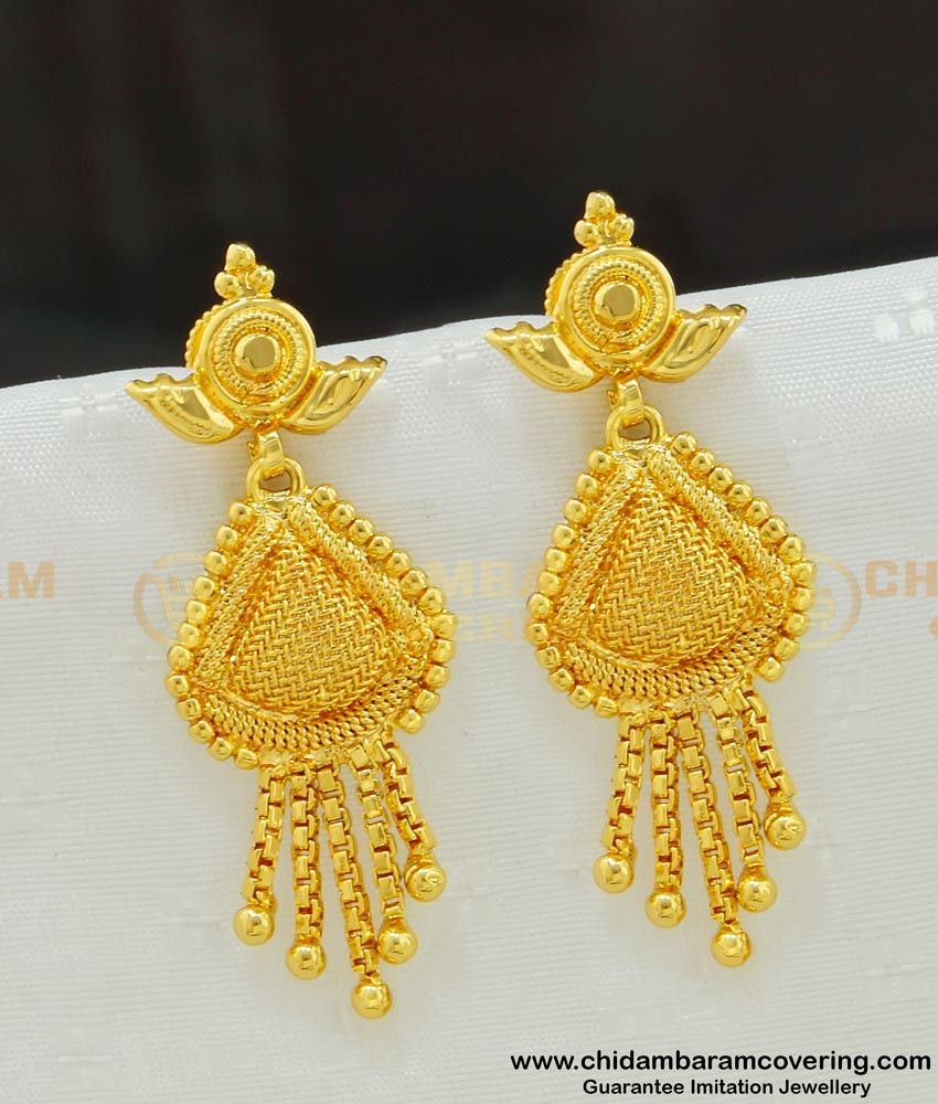 ERG540 - New Style Gold Covering Net Type Dangle Earrings Designs for Girls