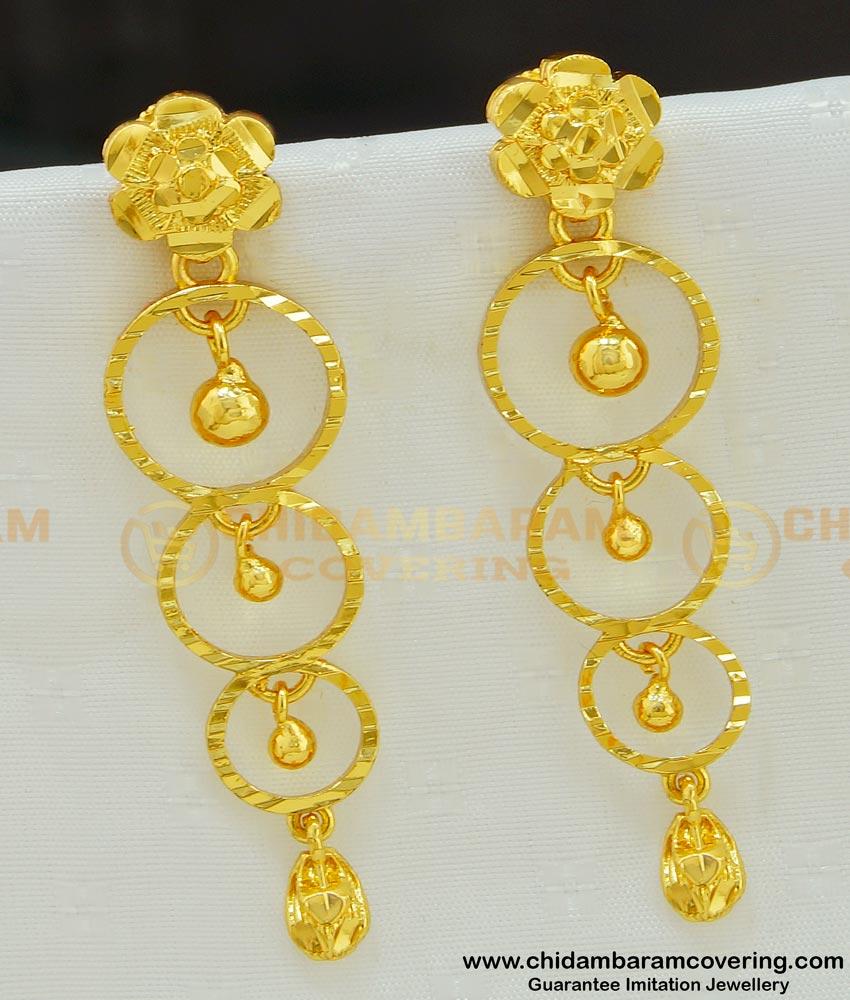 ERG545 - Gold Style Plain Gold Plated Long Dangler Earrings For Modern Girls