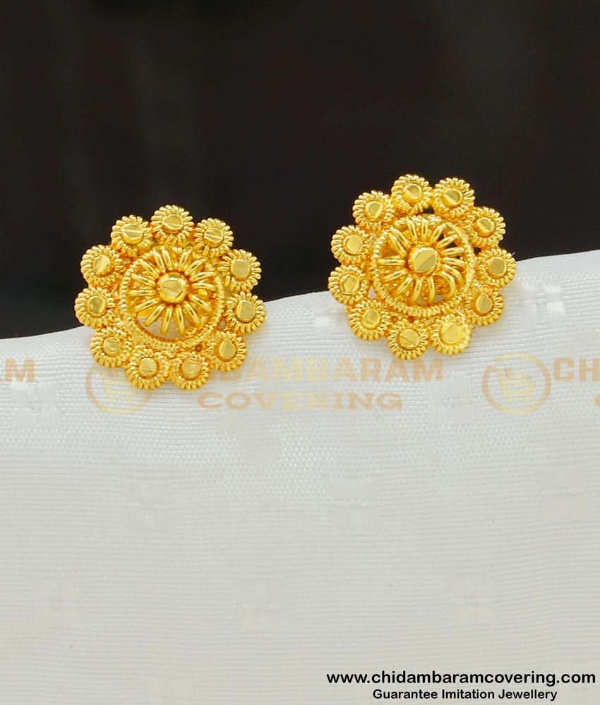 ERG548 - Daily Wear Gold Plated Medium Size Stud Designs Imitation Earrings for Girls